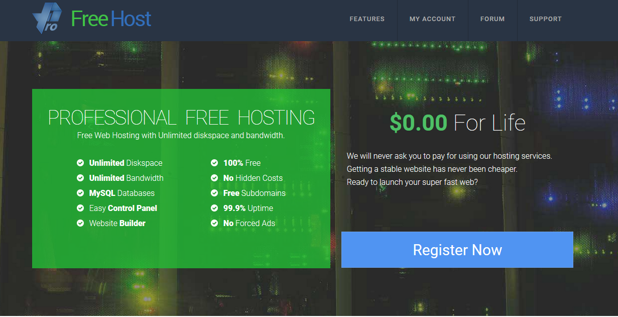 ProFreeHost免費不限流量和空間的網路虛擬主機 4